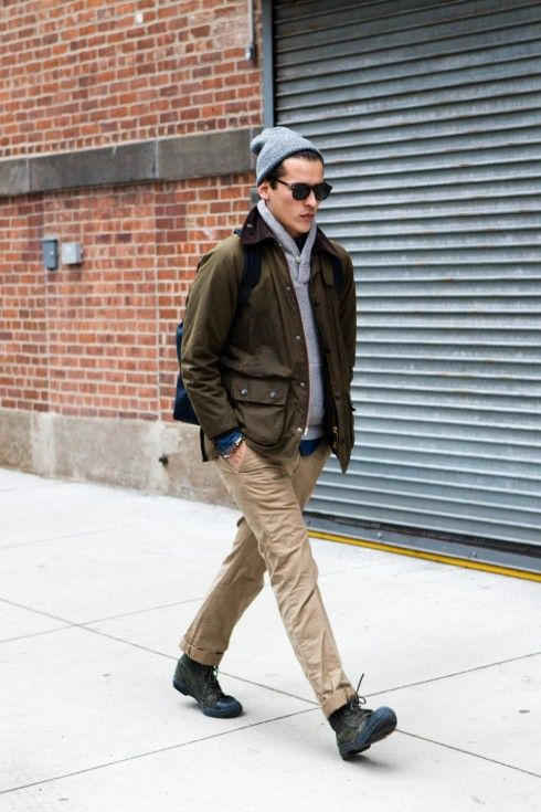 i'd lose the beanie and sunglasses and replace this with a driving cap. otherwise...stellar! i love me some chambray+shawl collar sweater+military-ish jacket+rolled up chino+combat boot. delicious.