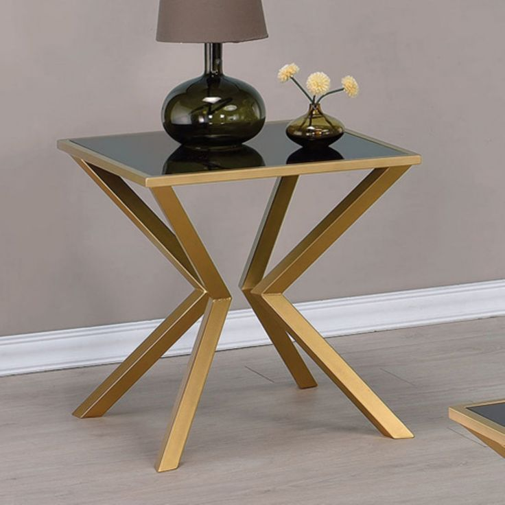 Coaster Furniture Dark Glass Top End Table - Gold - 705187