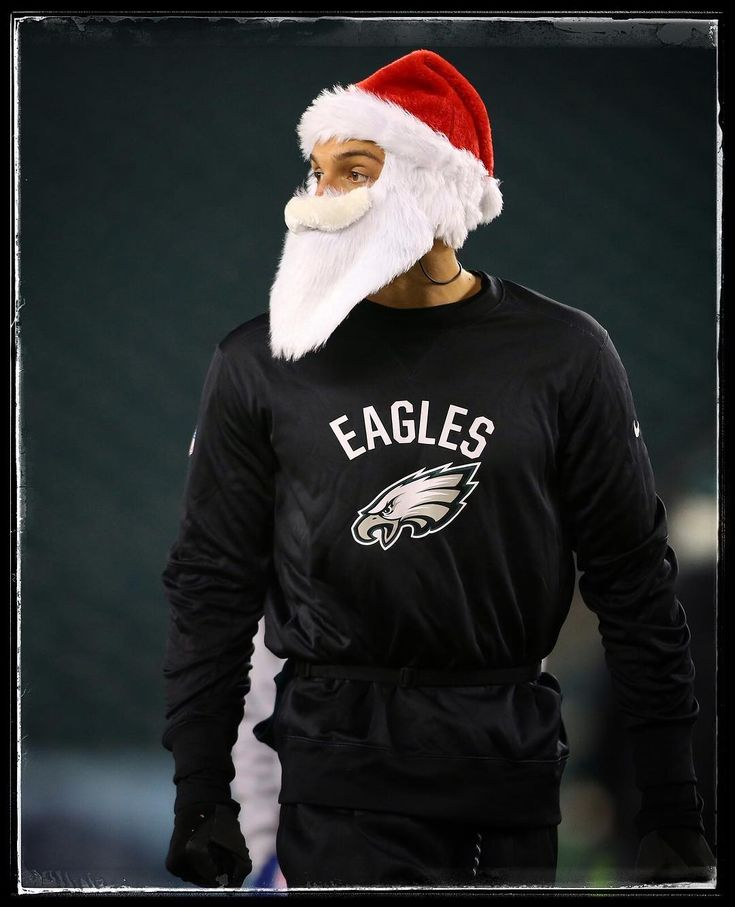 PHILADELPHIA PA - DECEMBER 25: Mack Hollins #10 of the Philadelphia Eagles wears a Santa hat and beard as he warms up prior to a game against the Oakland Raiders at Lincoln Financial Field on December 25 2017 in Philadelphia Pennsylvania.  @richschultznj  @gettysport . . . #mackhollins #philadelphiaeagles #philadelphia #eagles #flyeaglesfly #oaklandraiders #oakland #raiders #nfl #football #lincolnfinancialfield #santa #santaclaus #christmas #sportsphotography #gettyimages #gettysport…