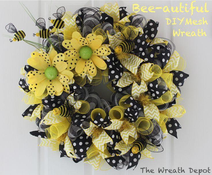 Spring Mesh Deco Ribbon Wreath Tutorial