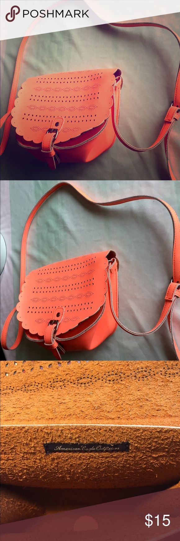 ⛵️AEO Crossbody⛵️ THIS.IS.SO.CUTE!! Bright, almost neon coral crossbody purse from American Eagle. Excellent condition! American Eagle Outfitters Bags Crossbody Bags