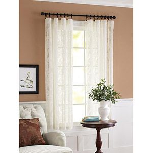 Better Homes and Gardens Lace Damask Curtain Panel, Cream Lace overlay on solid blue for curtains