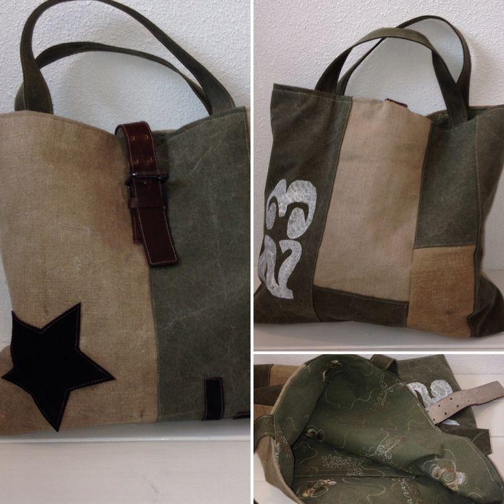 tas gemaakt van oude legertent en restanten ptt-postzak