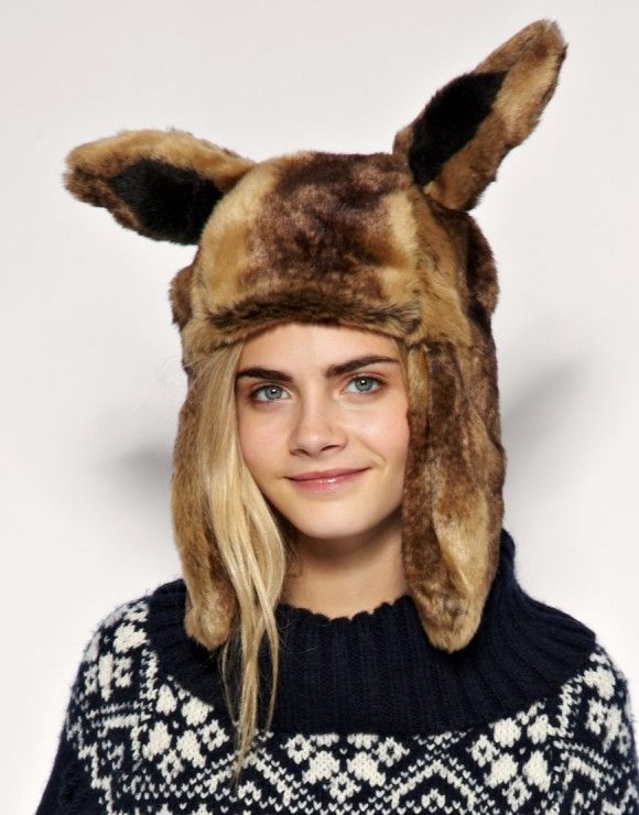 Cara Delevigne _ to add fur hat Rabbit ears - Earflaps can look different.