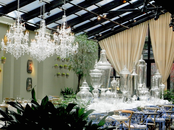 Display of huge decanters