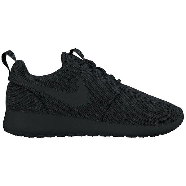 Nike Women's Women's Roshe One Sneakers ($75) ❤ liked on Polyvore featuring shoes, sneakers, black, black lace up sneakers, nike trainers, black sneakers, laced up shoes and slip-on shoes