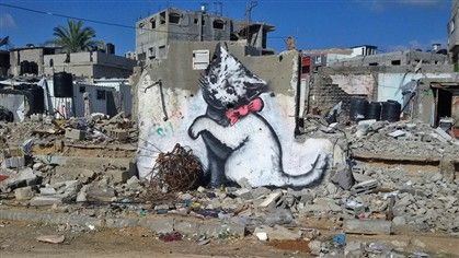 Banksy entrou na Faixa de Gaza por túneis ilegais para a cobrir de arte