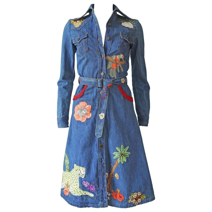 Peter Golding 'Ace Jungle Jean' Denim Dress, c. 1974 | From a collection of rare vintage day dresses at https://www.1stdibs.com/fashion/clothing/day-dresses/