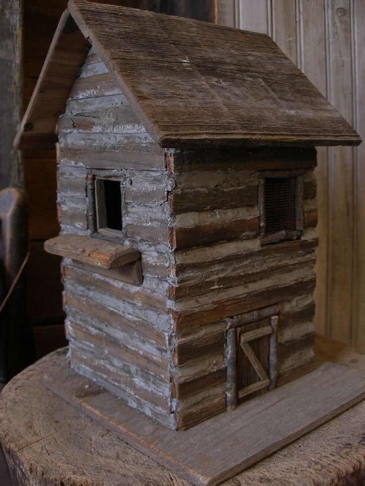 Sweet Liberty Homestead primitive log cabin birdhouse for your country garden!