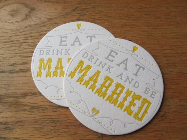 yellow and grey wedding coasters type a press