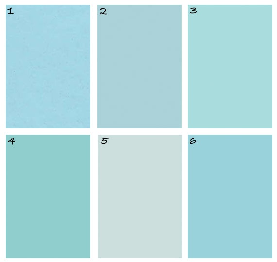 Paint swatches - 1. Martha Stewart Living Enamelware at Home Depot, 2. Farrow & Ball Blue Ground 210: the most pungent bird's egg blue ever. If you're looking to make a hallway come alive with color, this is it, 3. Benjamin Moore Rhythm and Blues 758, looks like the summer sky at the end of a perfect beach day, 4. Glidden Robin's Egg, 5. Glidden Clear Blue Sky, 6. Behr Blue Balloon (DC3A-702)