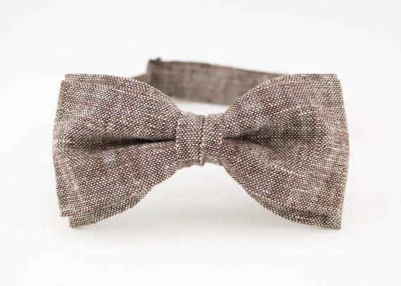 Brown Bow Tie for Men Linen Bow Tie Mens Bow Tie by BartekDesign