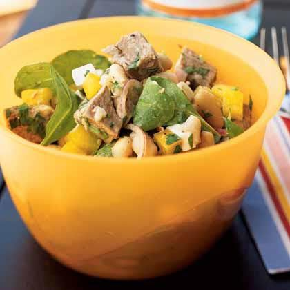 Roast Lamb and White Bean Salad | Two kinds of beans add visual appeal; you can also use two cans of one type of bean.