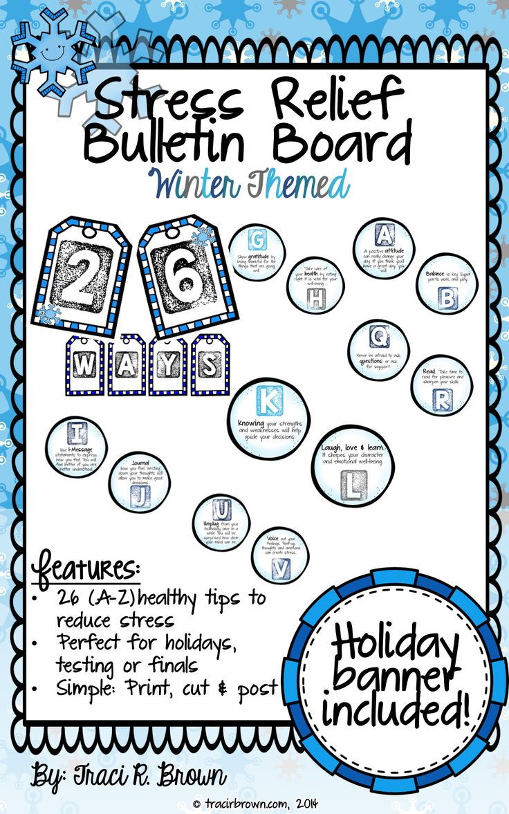 Winter themed Stress Relief Bulletin Board! This is a great school counselor resource for the office or hallway. Has great tips for relieving student stress and fostering healthy habits. Check it out here! ~