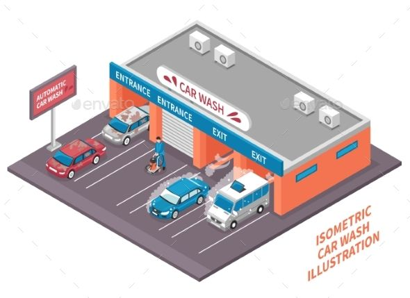 Automatic Car Wash Composition by macrovector Isometric car washing outdoor composition of automatic car wash building with cars driving in and out vector illustration. Editabl