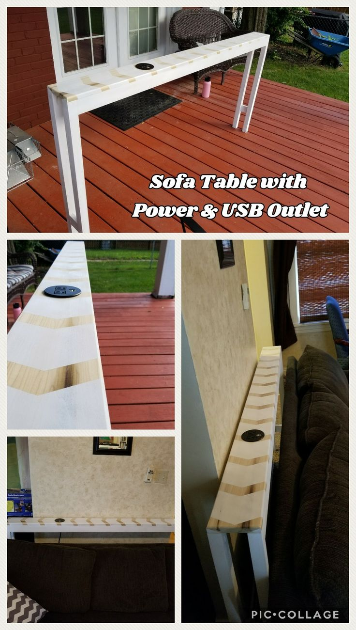 Diy Sofa Table With Inset Power Outlets And Usb Charging