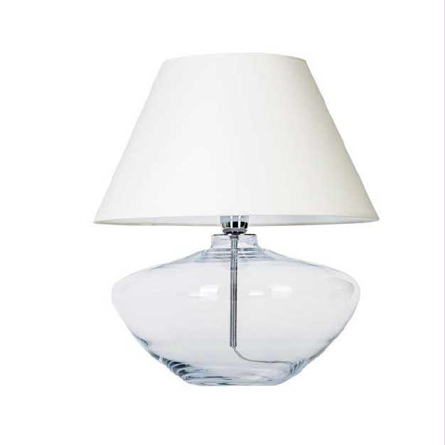 MADRID abajur cod. b112600 em vidro transparente com haste interna em metal cromado e cúpula em tecido branco.