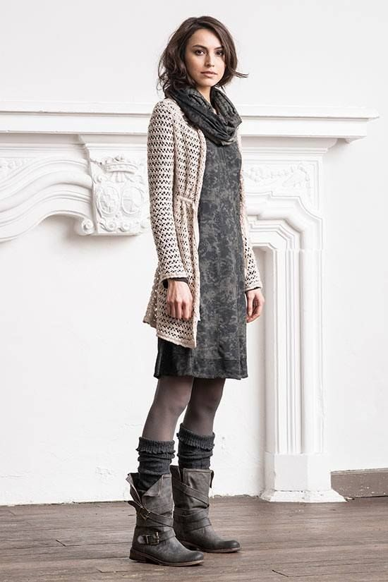 Casual dress, long cardigan, scarf, winter boots