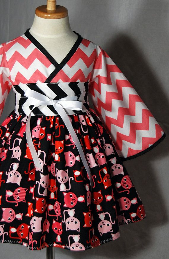 Girls Kimono Dress in Riley Blake Cheverons by pinkmouse on Etsy, $52.00