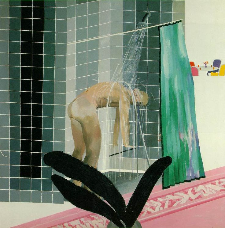 Man Taking Shower in Beverly Hills | David Hockney  | 1964 | Acrylic on canvas | 167 x 167 cm (65 1/2 x 65 1/2 in) | Tate Gallery, London