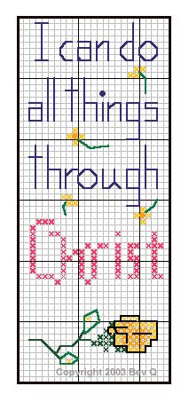 """""""I can do all things through Christ"""" bookmark cross stitch pattern"""