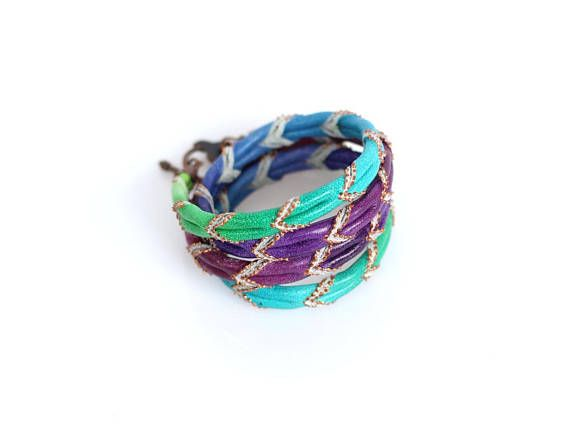 Wrap Leather Bracelet Ombre Hand Painted Leather Purple Green