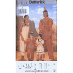 Mens/Misses/Childrens Native American Costume, Butterick 4171A and B