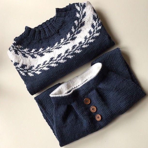 1 tvilling klar for høst/vinter, så da er det bare å starte på sett nr 2 tusen takk til @knitsandpieces og @ministrikk for rålekre oppskrifter #snøløvgenser #baggyvårbukse #strikkerpåbestilling #knittersofinstagram #instaknit #knitinspo123 #ministrikk #knitsandpieces
