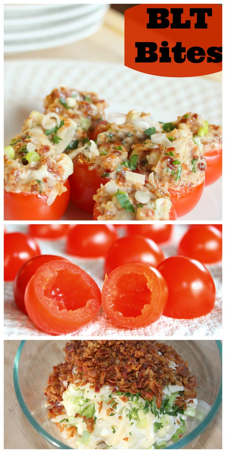 BLT Bites 1 Pint of Cherry Tomatoes 1/3 Cup Of Chopped Green Onion ½ Cup of Mayonnaise ½ Cup of Grated Parmesan Cheese 2 TBSP of chopped fresh Parsley 1 lb of bacon - cooked and crumbled