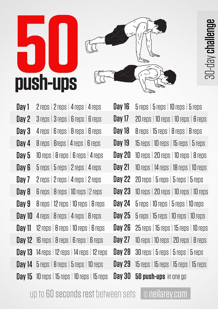 50-pushups-challenge in 30 days | Push Ups | Pinterest ...