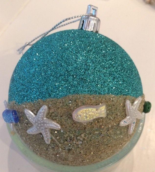 Beach/Seaside/Nautical/Coastal Seahorse Starfish Shell Glitter Bauble Decoration
