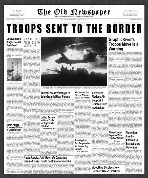 sample newspaper front page