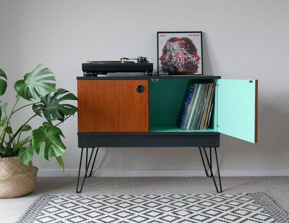Mid Century Teak Vinyl LP Record Cabinet by ElizabethDotDesign