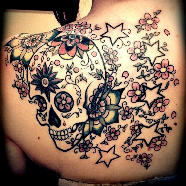 Back tattoo   Skull   Old school   Stars   Dia de los muertos   Sugar skull  
