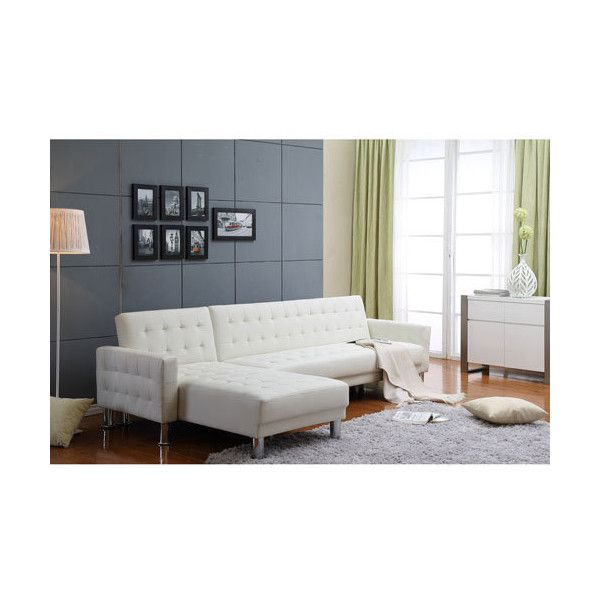 Thy-Hom Marsden White Tufted Bi-Cast Leather 2-Piece Sectional Sofa... ($750) ❤ liked on Polyvore featuring home, furniture, sofas, tufted sofa set, white sofa sleeper, tufted chaise, tufted sectional and white sofa