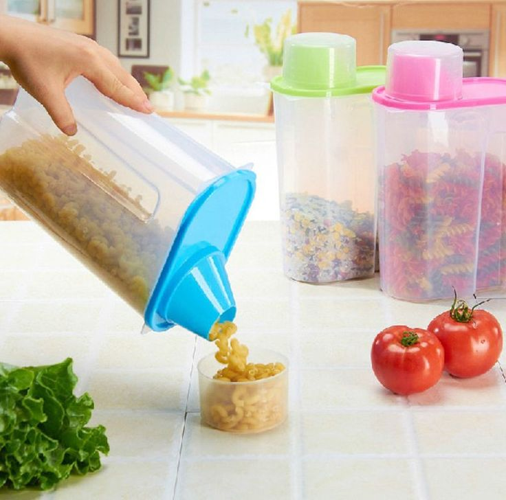 1.9L Cereal Bean Rice Keeper Food Storage Plastic Container Kitchen Canister