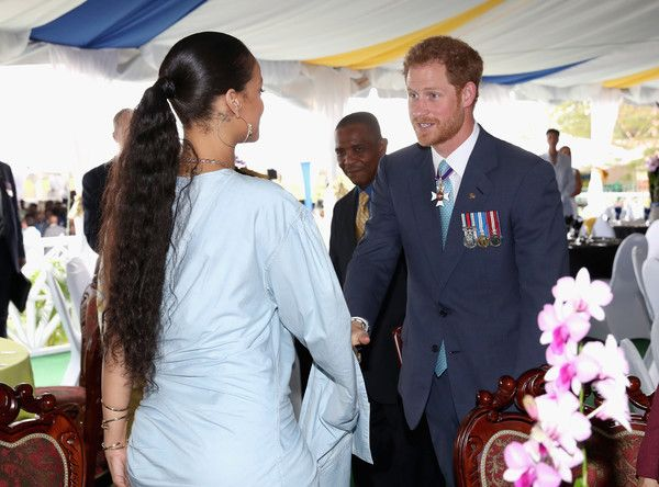 Rihanna Photos Photos - Prince Harry meetsRihanna at a Toast to the Nation Event on day 10 of an official visit to the Caribbean on November 30, 2016 in  Bridgetown, Barbados. Prince Harry's visit to The Caribbean marks the 35th Anniversary of Independence in Antigua and Barbuda and the 50th Anniversary of Independence in Barbados and Guyana. - Prince Harry Visits the Caribbean - Day 11