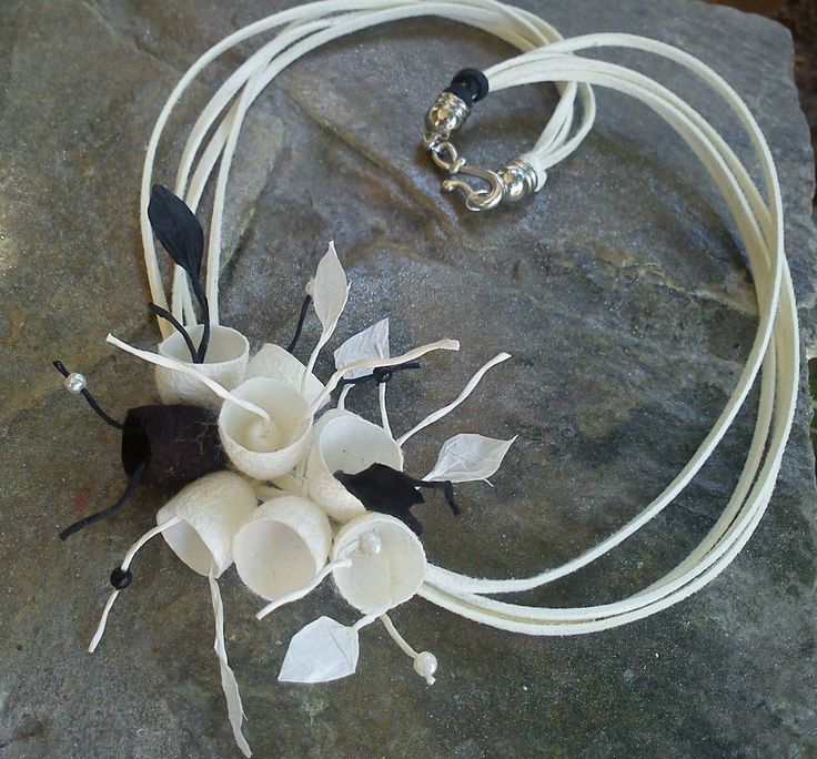 handmade silk cocoons jewelry - necklace No44