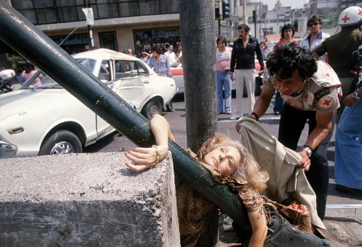 Pinner says, Many of these images can be difficult to view; and yet, despite this, they possess a filmic quality that enables the viewer to witness these events rather than quickly avert their gaze. Here's a grizzly, often-gruesome look at fifty years of crime scenes in Mexico City, from photographer Enrique Metinides: http://slate.me/XD7dGi