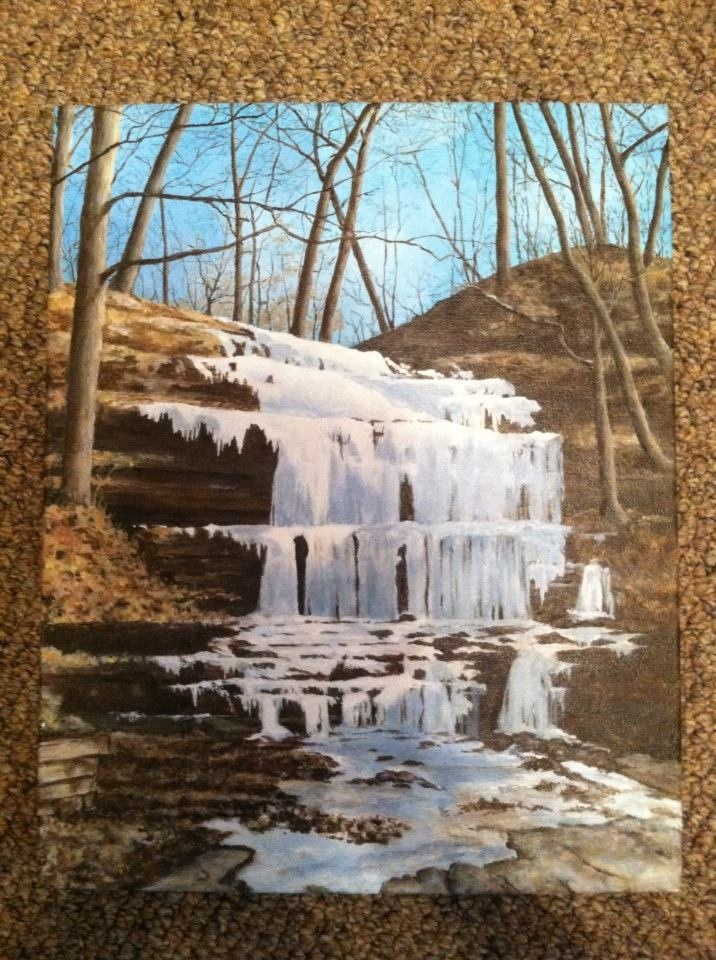 Painted from Becky's photo of frozen waterfall in MO.  (Acrylic on Canvas)