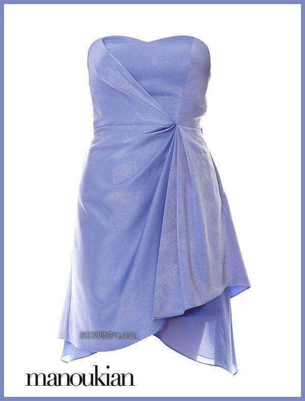 Une splendide robe courte lavande bustier et drapée signée Manoukian que vous allez adorer !