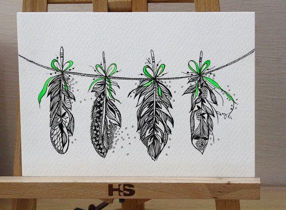 Feather Bunting Green Ribbon Original Artwork Pen and door MyZenMode