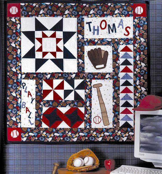 Play Ball! Quilt Pattern TPQ-018 (advanced beginner, baseball quilt pattern, child wall hanging)