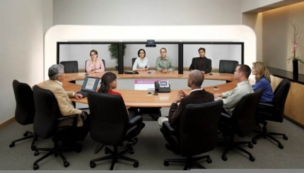 FSC-certified wood tables manufactured by Woodtech for Cisco Systems, to be used with their teleconference systems worldwide