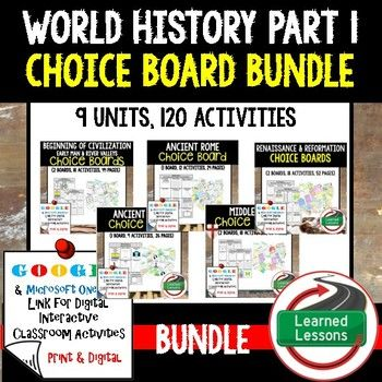 Best 25 world history classroom ideas on pinterest world world history activities choice board bundle paper and google sciox Choice Image