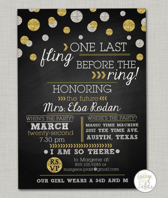 One last fling before the ring digital invitation- bachelorette party invitation- chalkboard - lingerie shower invitation- glitter invite