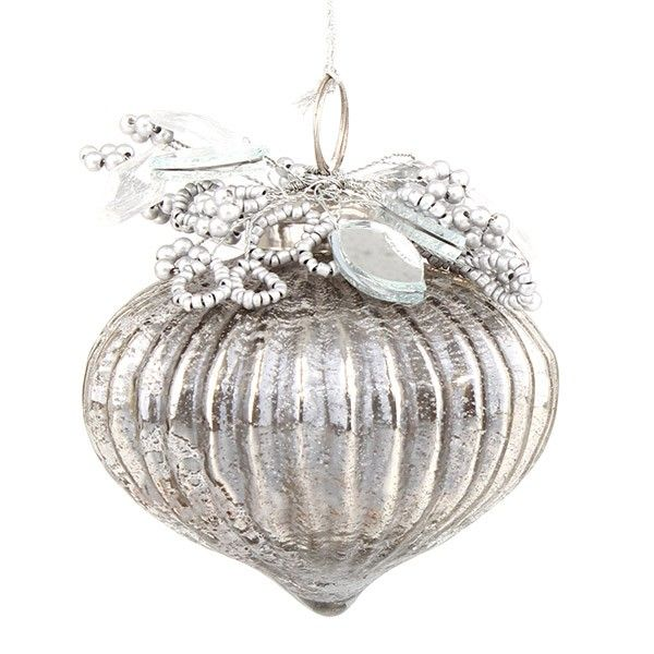 Silver Glass Ribbed Jewel Bauble