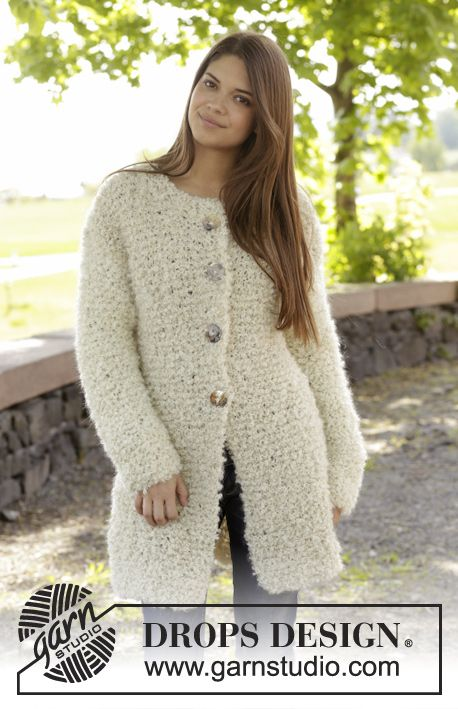 """DROPS Extra 0-1033 - Knitted DROPS jacket in garter st in 2 strands """"Puddel"""". Size: S - XXXL. - Free pattern by DROPS Design"""