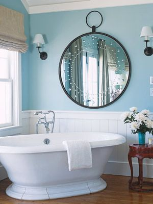 Blue Bathroom:   Wash away the winter blahs by adding a cool, bright blue to your bath. These walls are painted in Pratt & Lambert's Coos Bay.