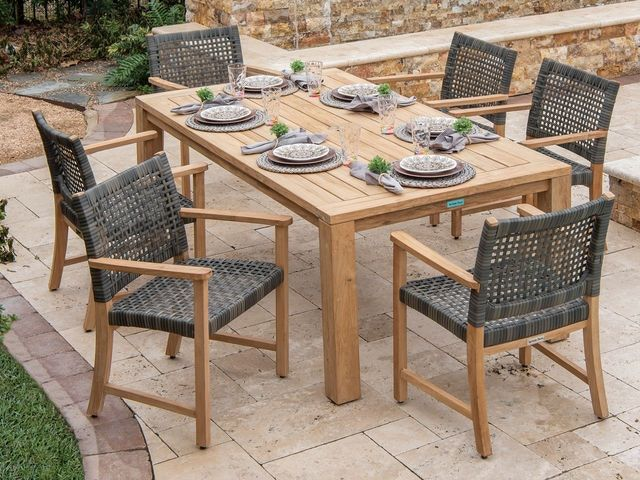 Living Room Hampton Solid Teak And Woven Resin Wicker 7 Pc Dining Set With 79 X 43 In Dining Table 6671628 Teak Patio Furniture Wicker Dining Set Teak Table Outdoor